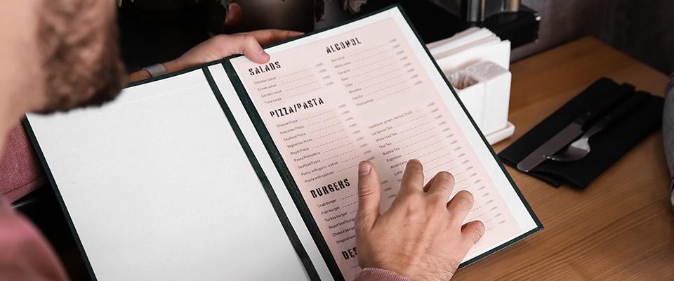 elaboration de cartes de menu des boissons